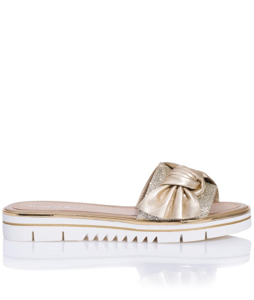 Florens Leder-Sandalen mit Glitzer und XL-Schleife in gold