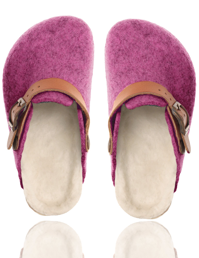 Genuins home slippers Shetland with real lambs fur lining in fuchsia