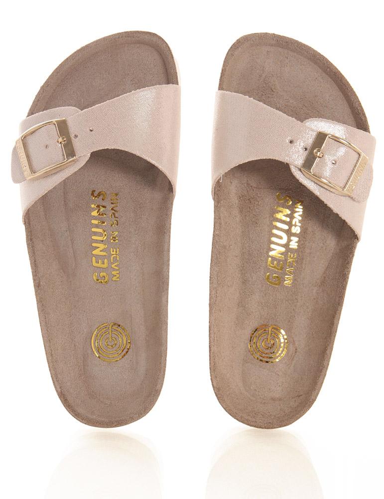 Genuins leather sandasl metallic-sparkles look in beige