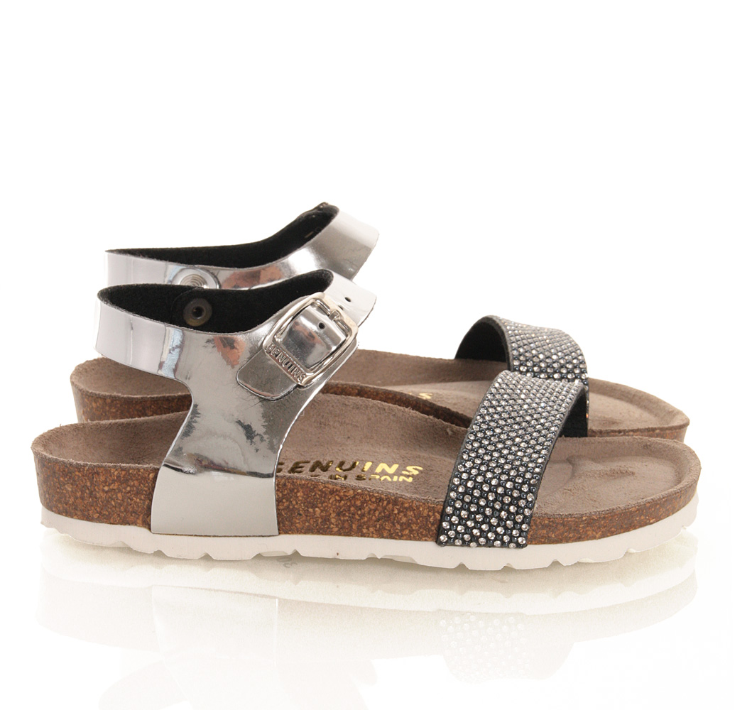 Genuins Leder-Sandale Metallic-Look mit Strass in silber
