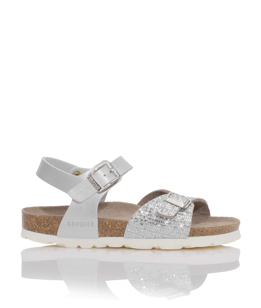 Genuins Leder-Sandale Kenia mit Glitzer in silber