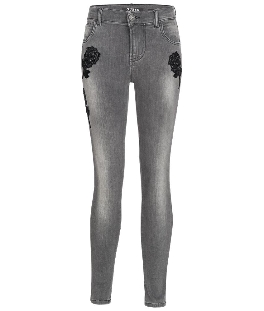 kids style lounge guess skinny jeans mit glitzer rosen in grau kindermode online kaufen. Black Bedroom Furniture Sets. Home Design Ideas