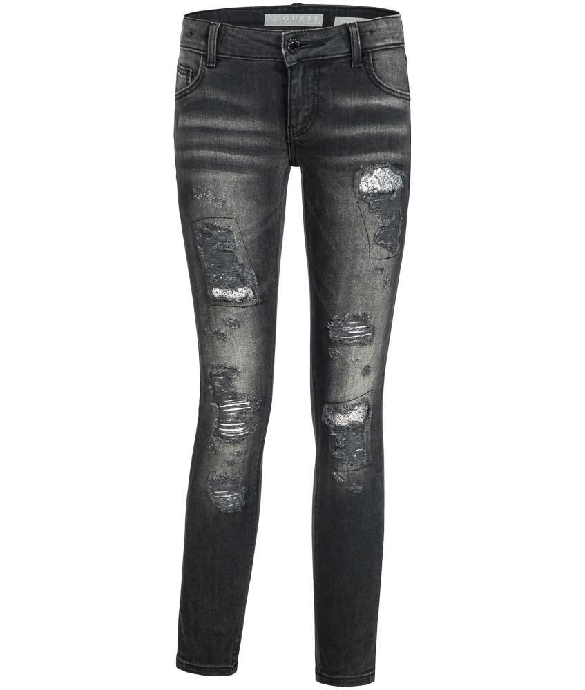Guess Jeans im Destroyed Look mit Pailletten in schwarz