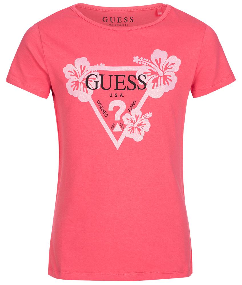 Guess Logo Shirt mit Glitzer Print in rot