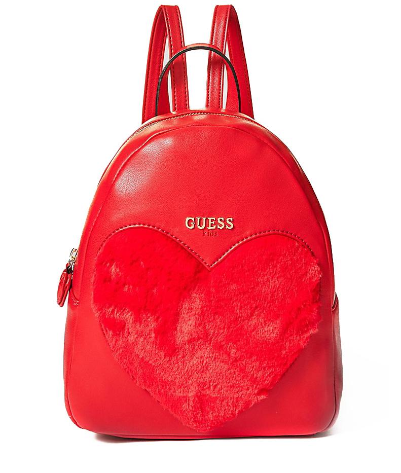 Guess Rucksack mit Plüsch-Herz in rot