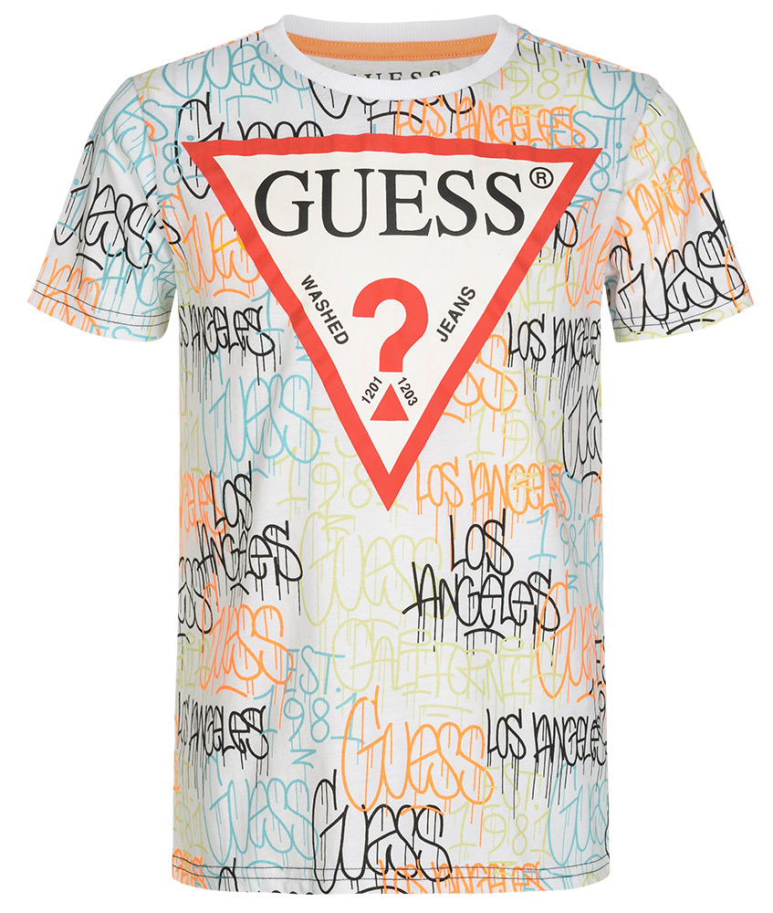 Guess T-Shirt mit All-Over Print - weiß