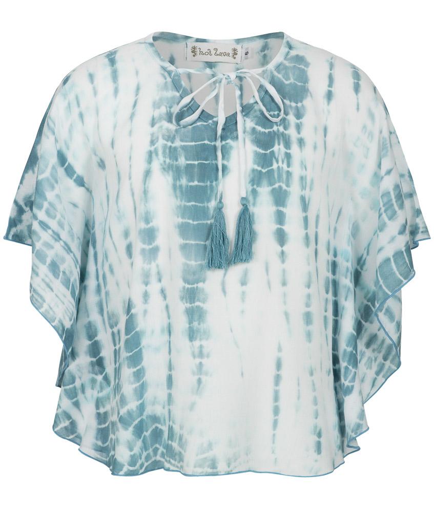 Hot Lava handmade kurze Tunika in blau-weiss