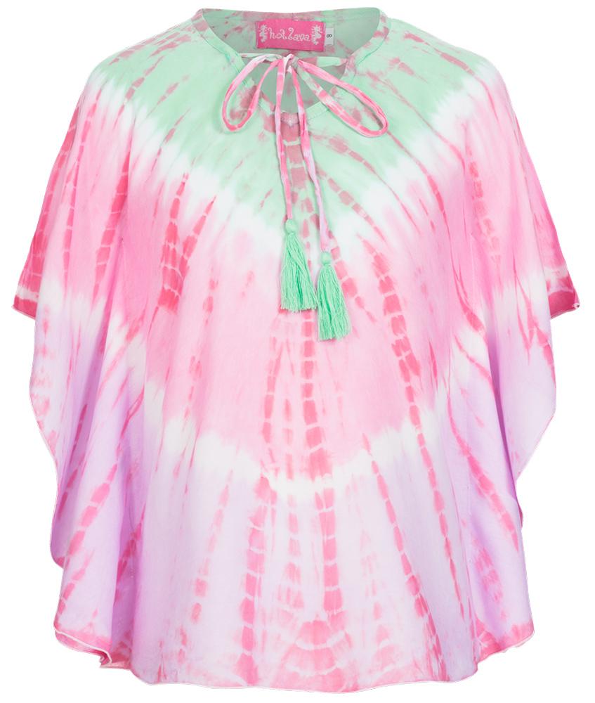 Hot Lava Handmade Sommer-Poncho in grün-pink