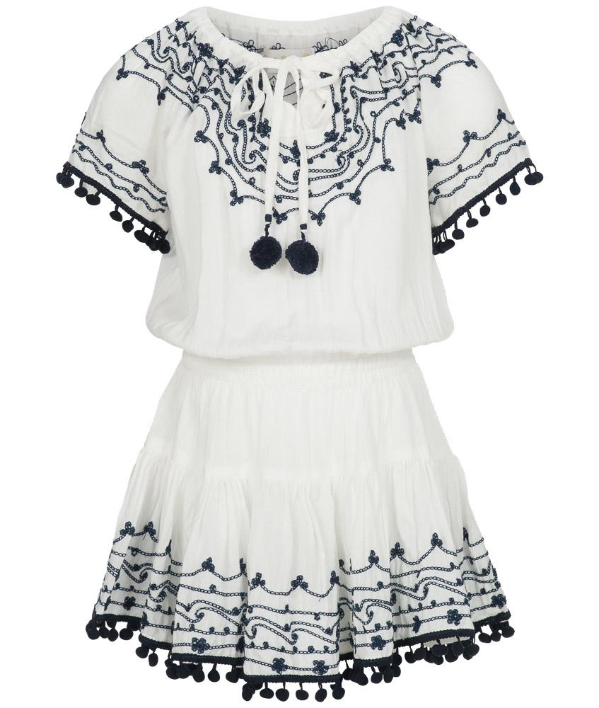 Hot Lava handmade Kleid mit Stickereien in ivory-navy