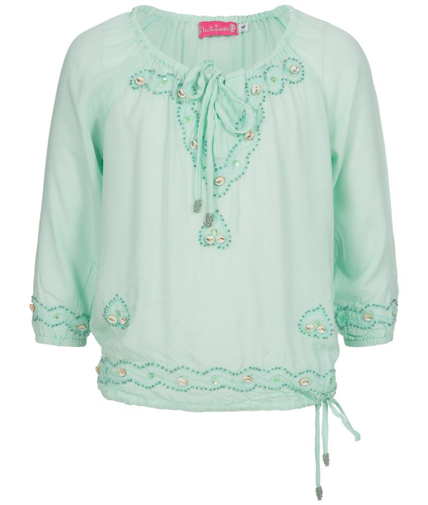 Hot Lava handmade Bluse mit Perlen und Muscheln in babymint