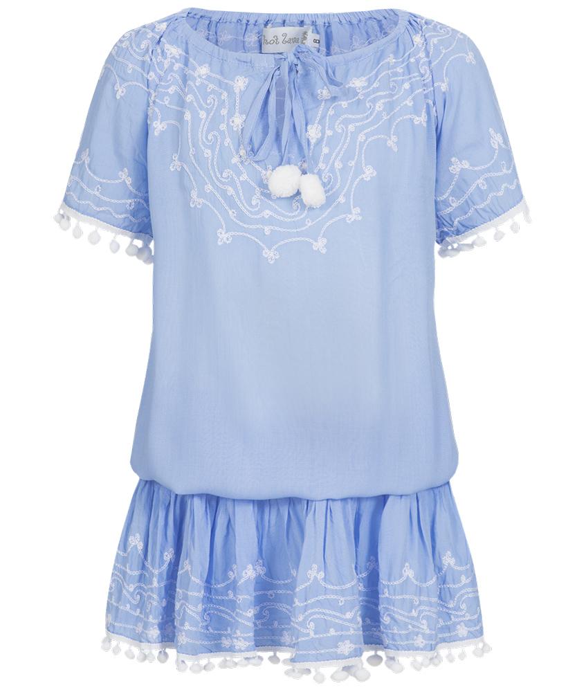 Hot Lava Tunika-Bluse mit Stickereien in lavendel