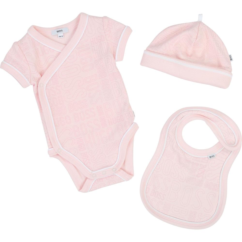 Boss Baby Set aus Body, Lätzchen und Mütze - rosa