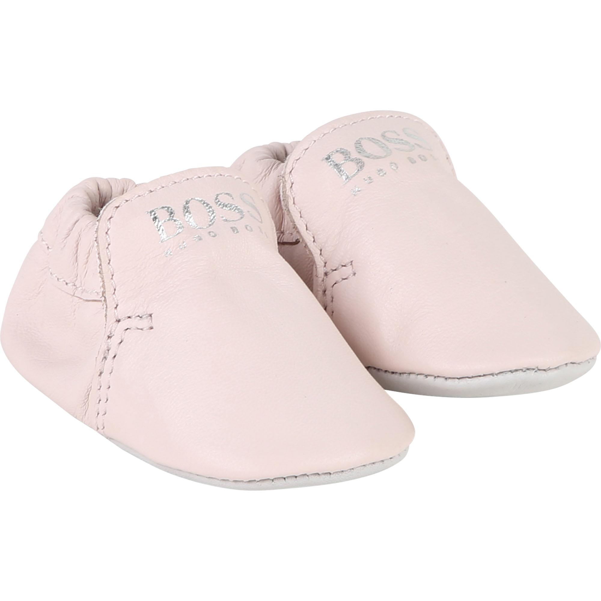 Hugo Boss Krabbelschuhe aus Leder - rosa