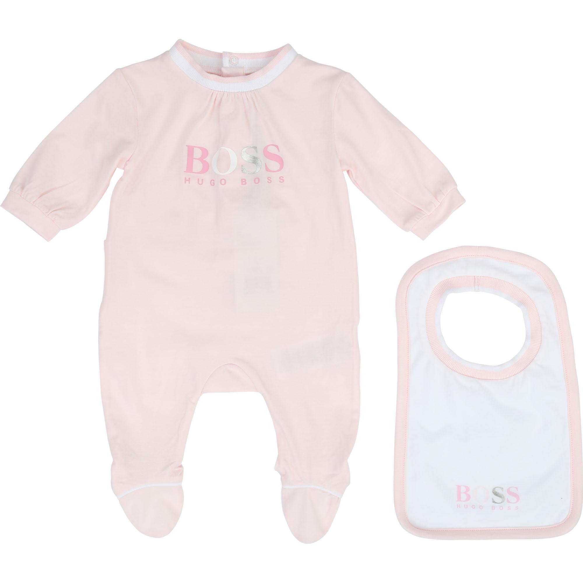 Boss Baby Set aus Schalfanzug und Lätzchen - rosa