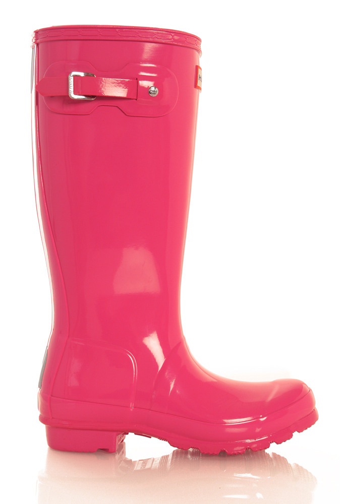 Hunter Original Kids Wellington Boots glänzend in bright pink