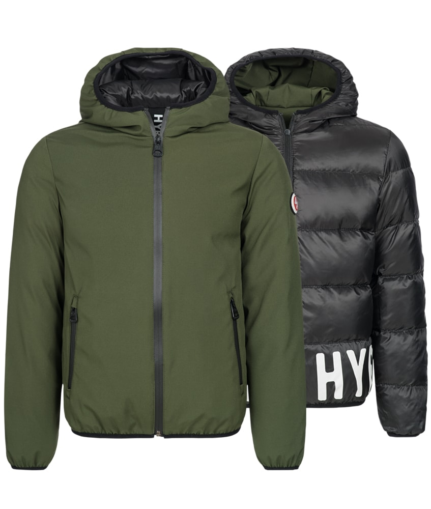 Hyros softshell reversible jacket with downs in olive