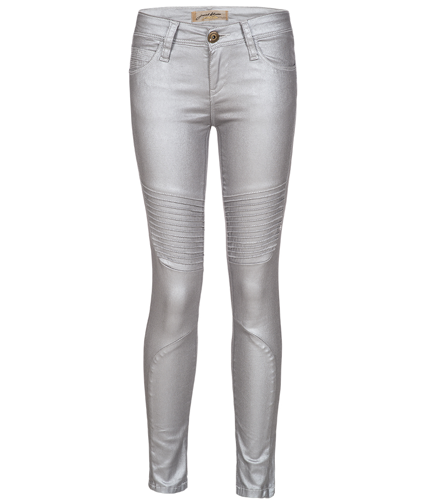 Just Blue leather look jegging Atenea Moto in silver