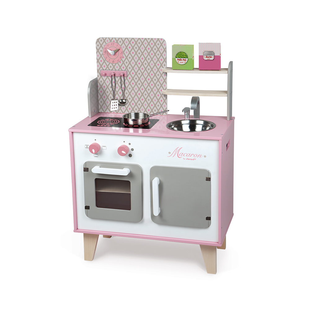 Janod wood kitchen Macaron with sound effects - pink