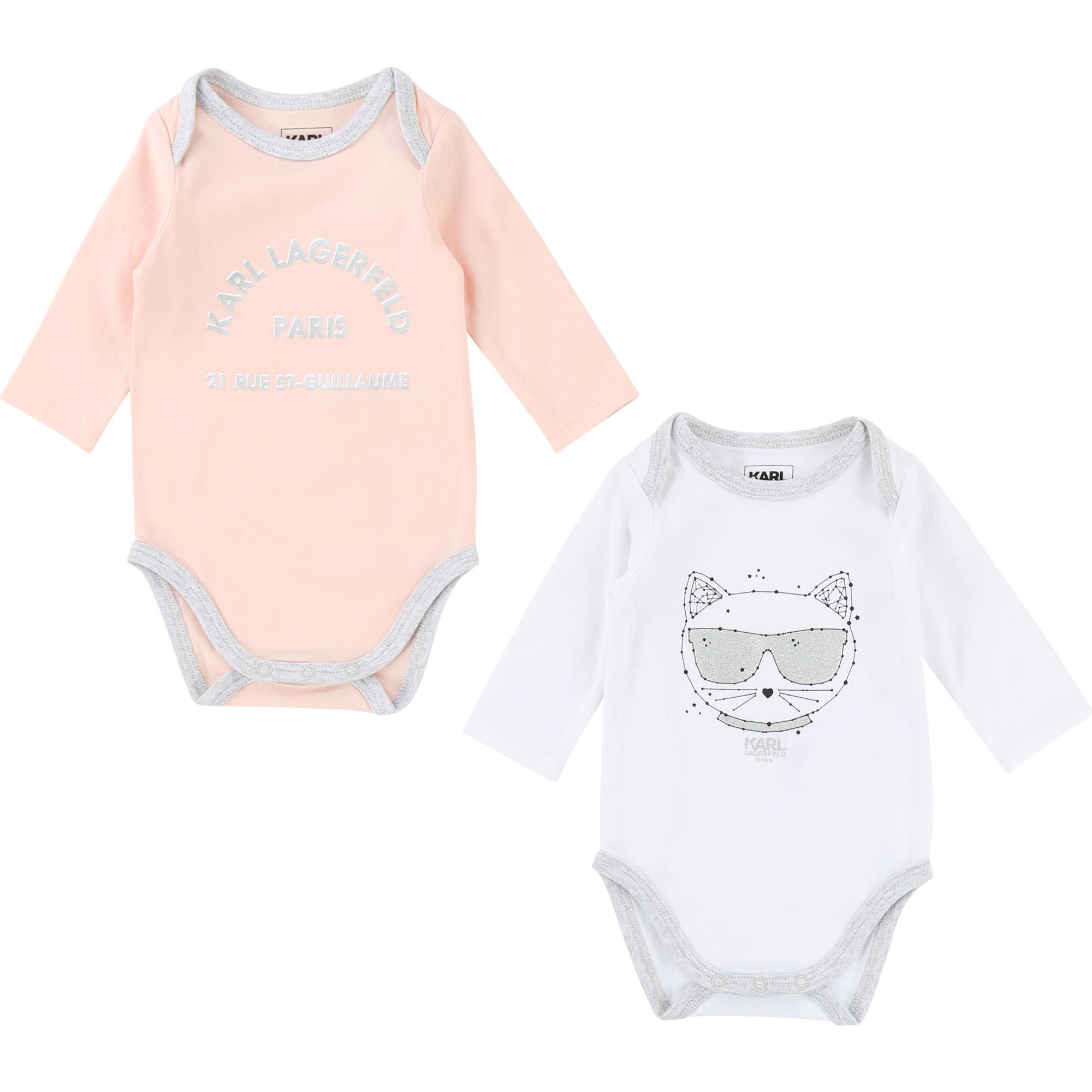 Karl Lagerfeld Baby Body Set in rosa-weiss