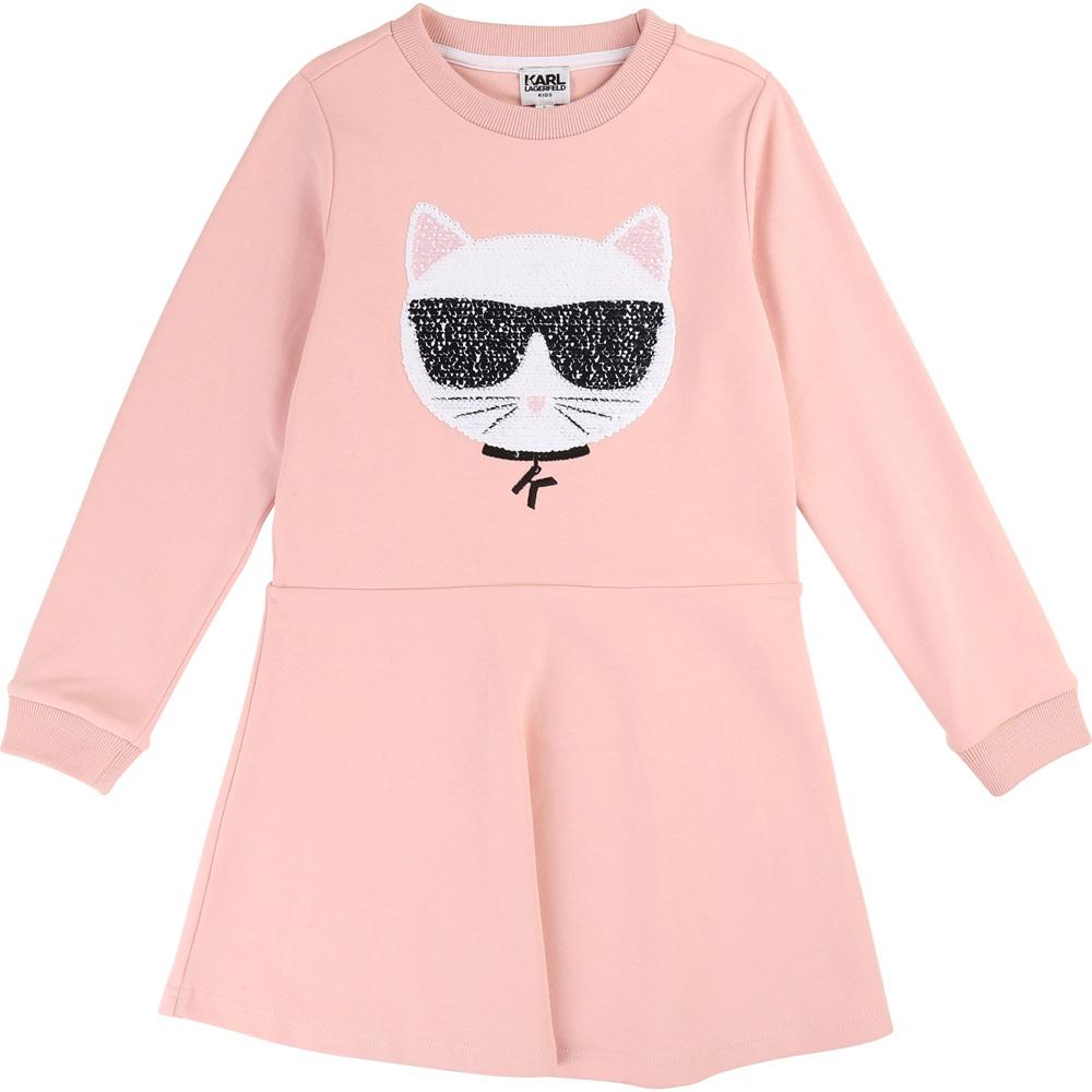 Karl Lagerfeld Sweatkleid mit Wendepailletten - rosa