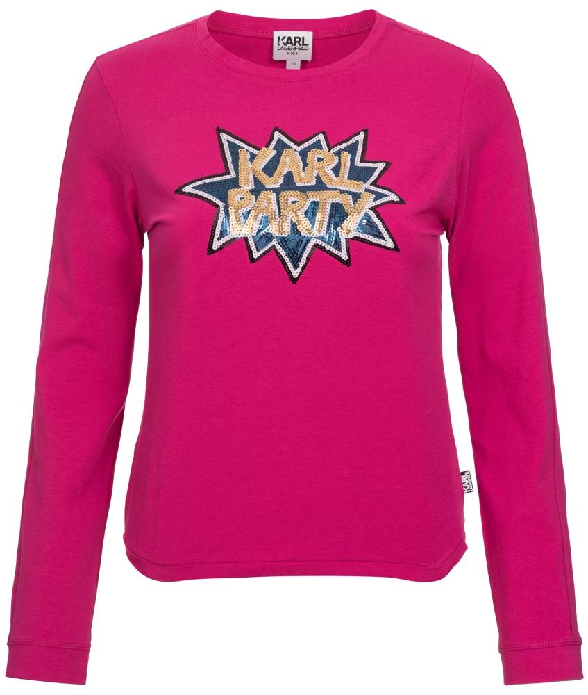 Langarmshirt mit Pailetten in pink