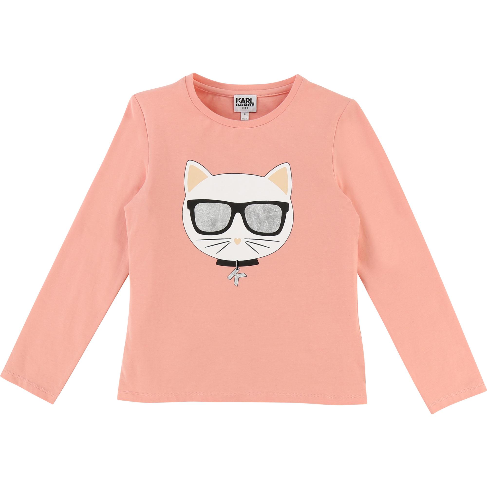 Karl Lagerfeld Shirt mit Glitzer Print in lachs