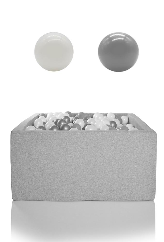 KIDKII Bällebad eckig 90x90x40cm - grau inkl. 200 Bälle weiß & grau