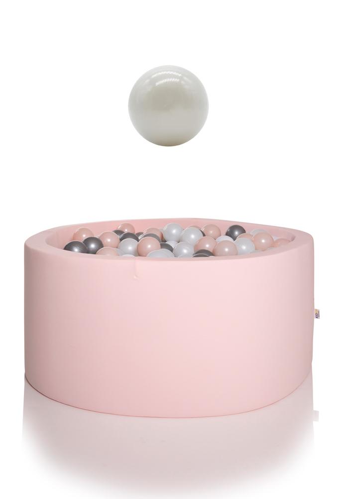 KIDKII Bällebad rund 90x40cm - rosa inkl. 200 Bälle pearl