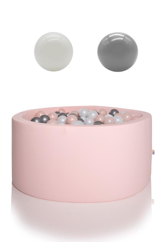 KIDKII Bällebad rund 90x40cm - rosa inkl. 200 Bälle weiß & grau