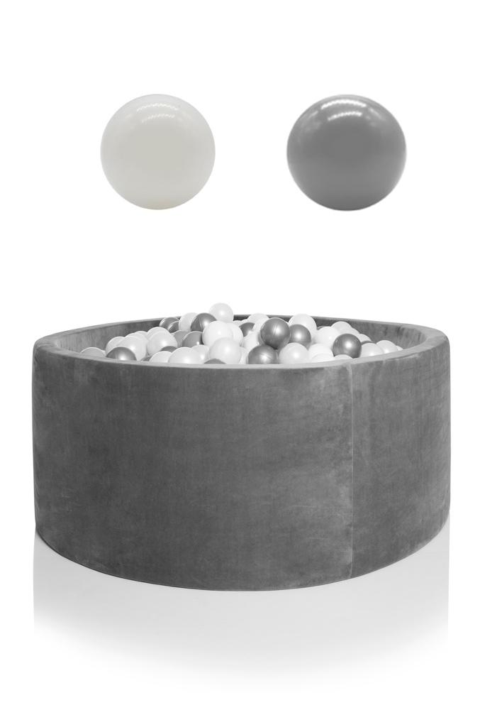 KIDKII Bällebad Samt rund 100x40cm - grau inkl. 400 Bälle weiß & grau