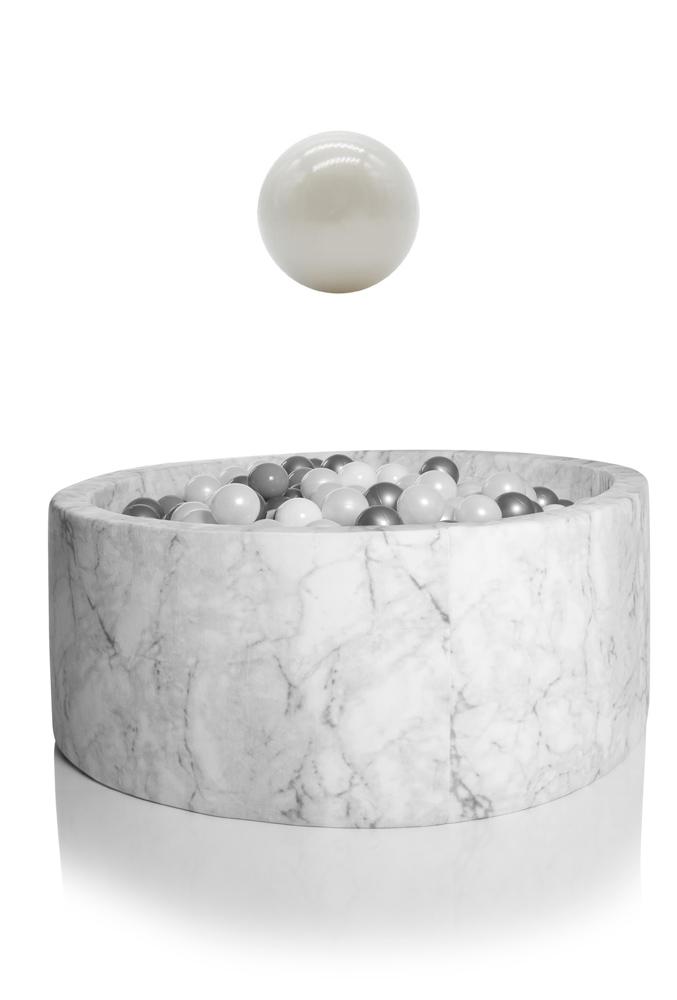 KIDKII Bällebad Samt rund 100x40cm - weiß Marmor inkl. 400 Bälle pearl