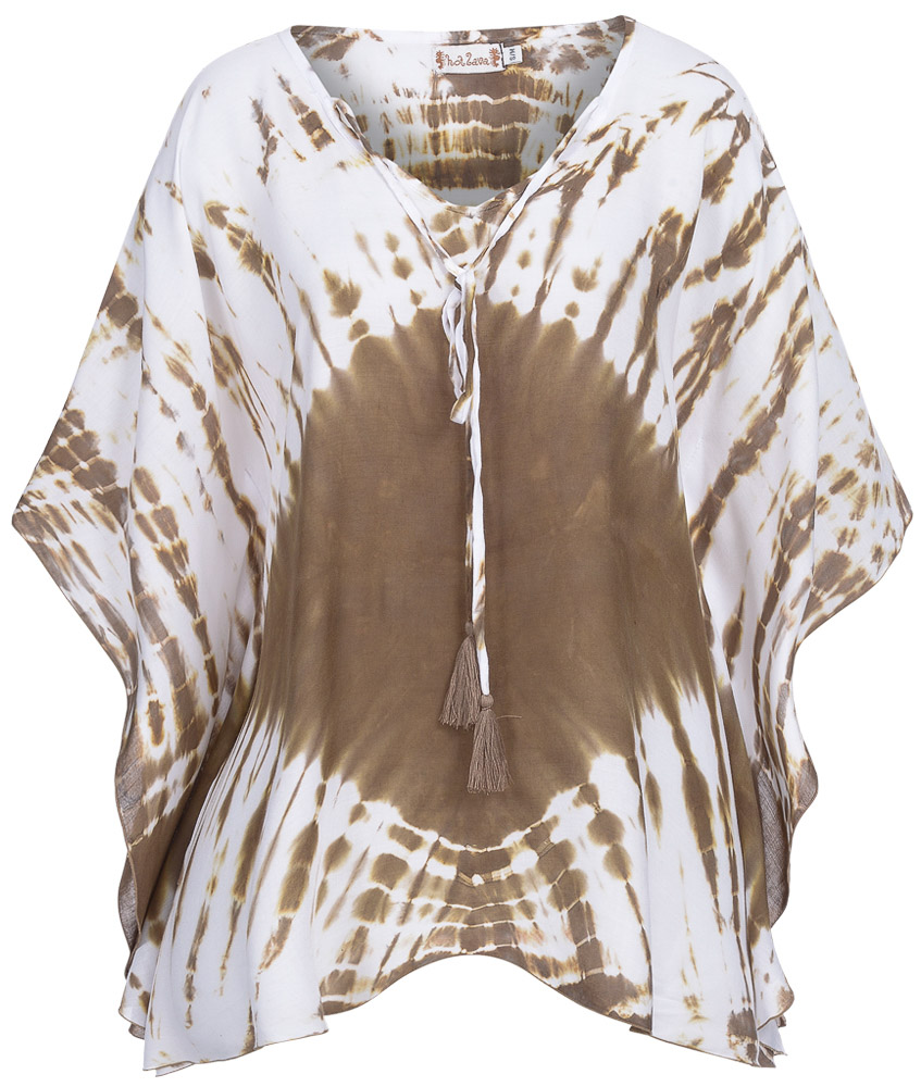 Poncho Desert Handmade in taupe