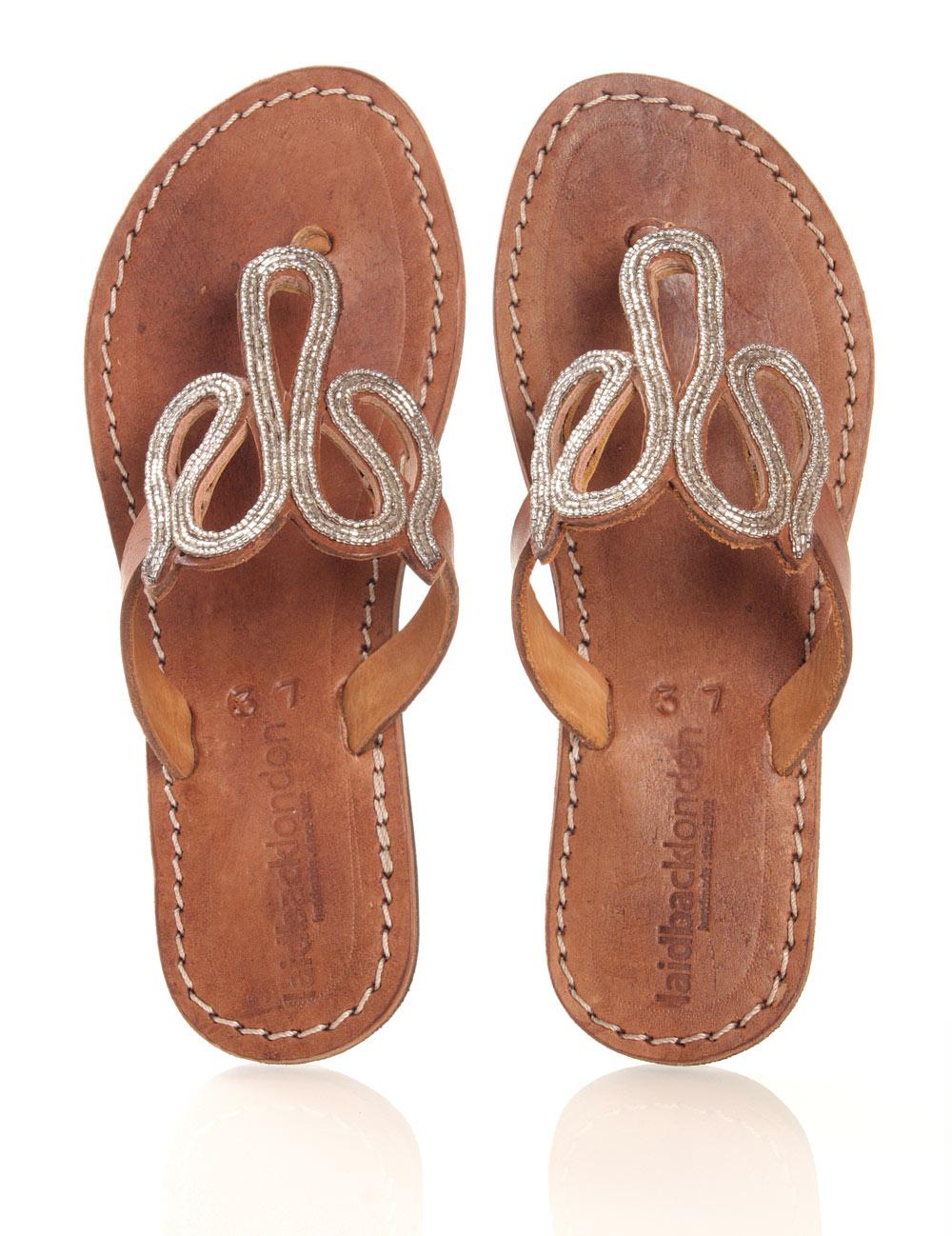 Leder-Sandale in braun