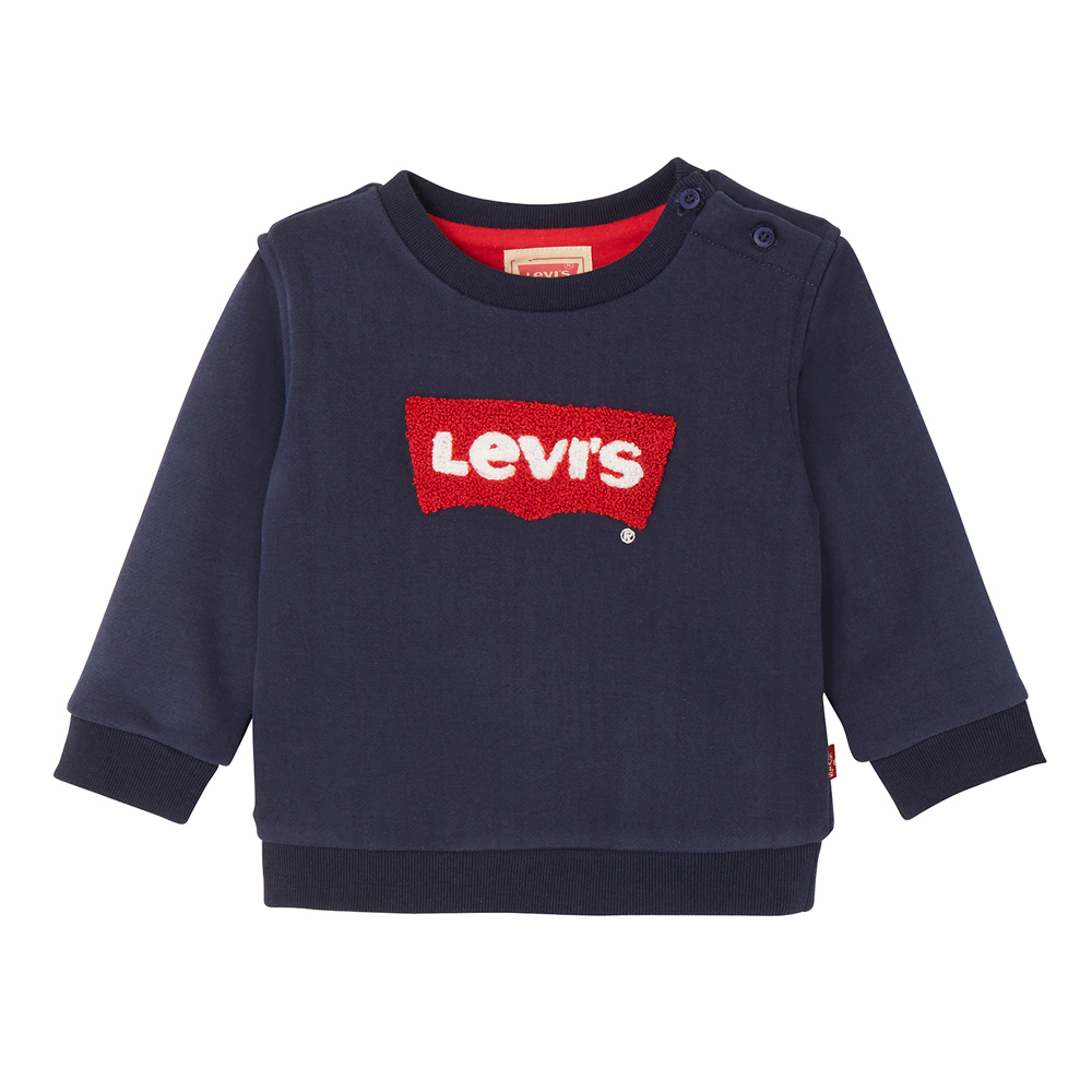 Levi's Baby sweater Baty with flock print in navy