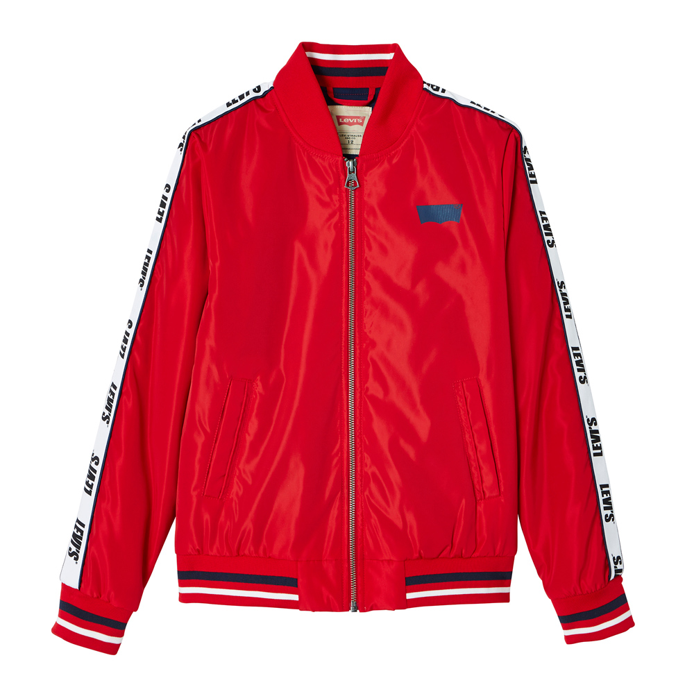 Levi's retro bomber jacket Teddy with track stripes - red