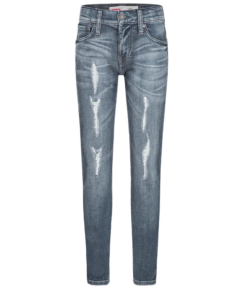 Levi's Destroyed Skinny Jeans 520 in blau mit tiefem Schritt