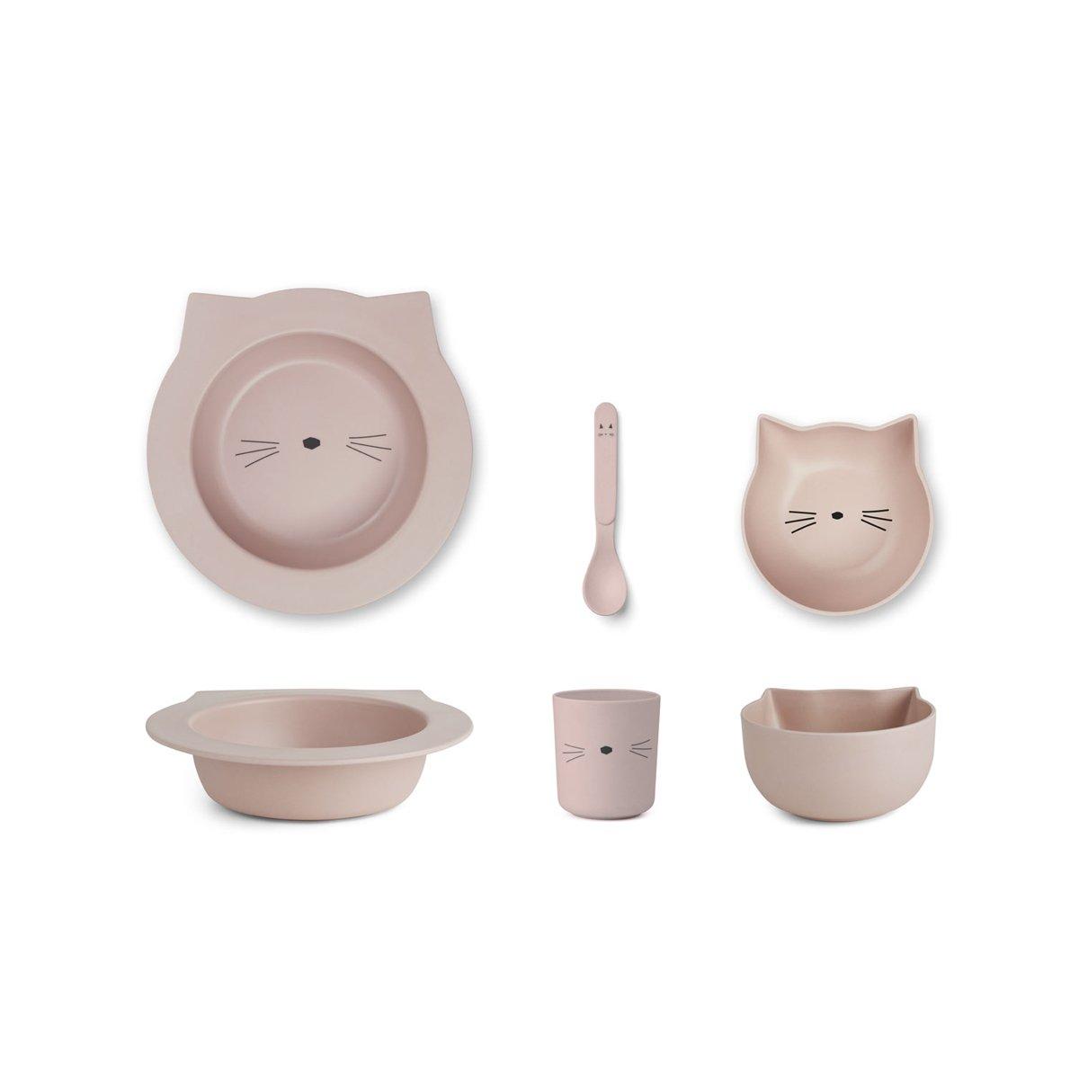 Liewood Barbara Bambus Geschirr Set Cat - rosa