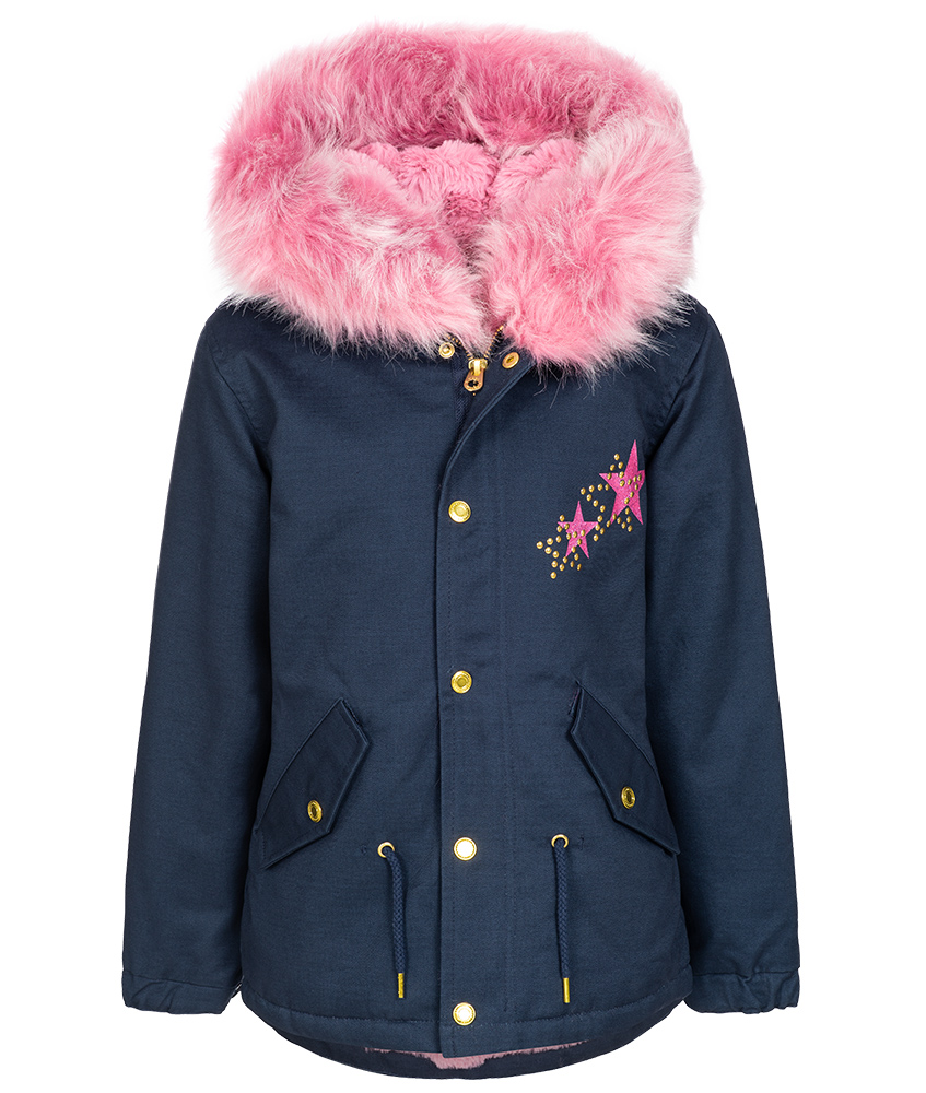Little Marc Jacobs Parka mit Fake-Fell in dunkelblau
