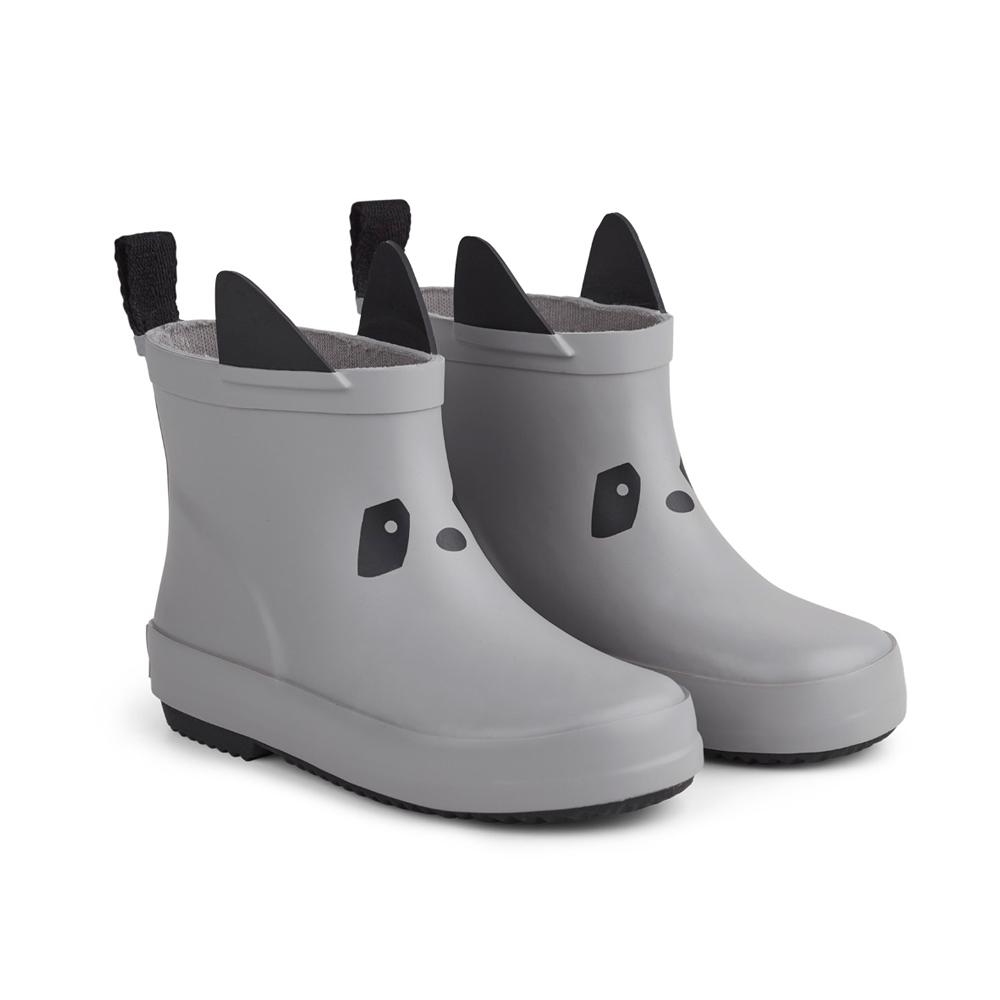 Liewood rain boots Tobi made of natural rubber - Panda dumbo grey