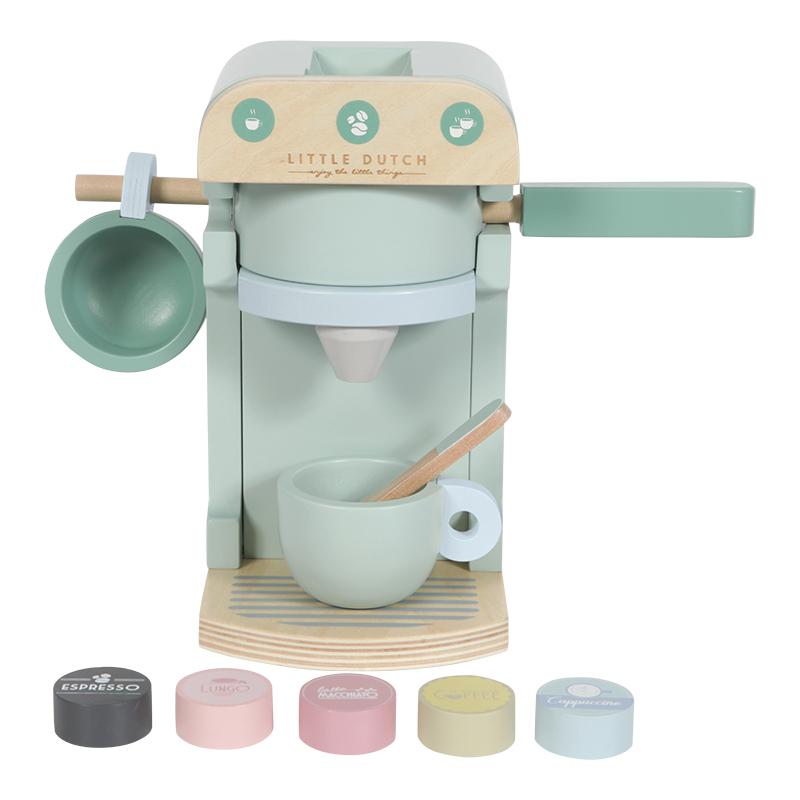 Little Dutch Holz Kaffemaschine, 10-teilig - mint