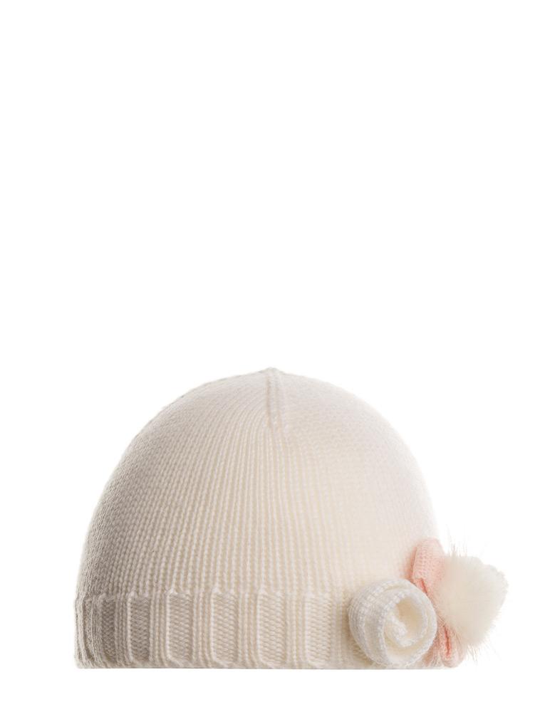 Mia Baby Strickmütze mit Blümchen in creme