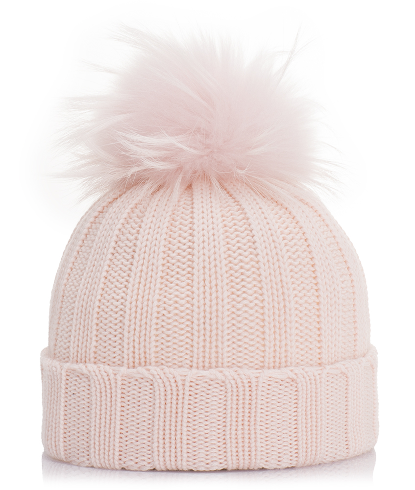 Mia Merino Wollmütze mit Echtfell in rosa