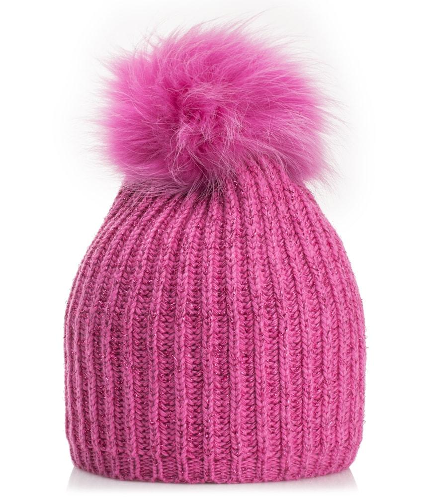 Mia Merino Wollmütze mit Echtfell in pink