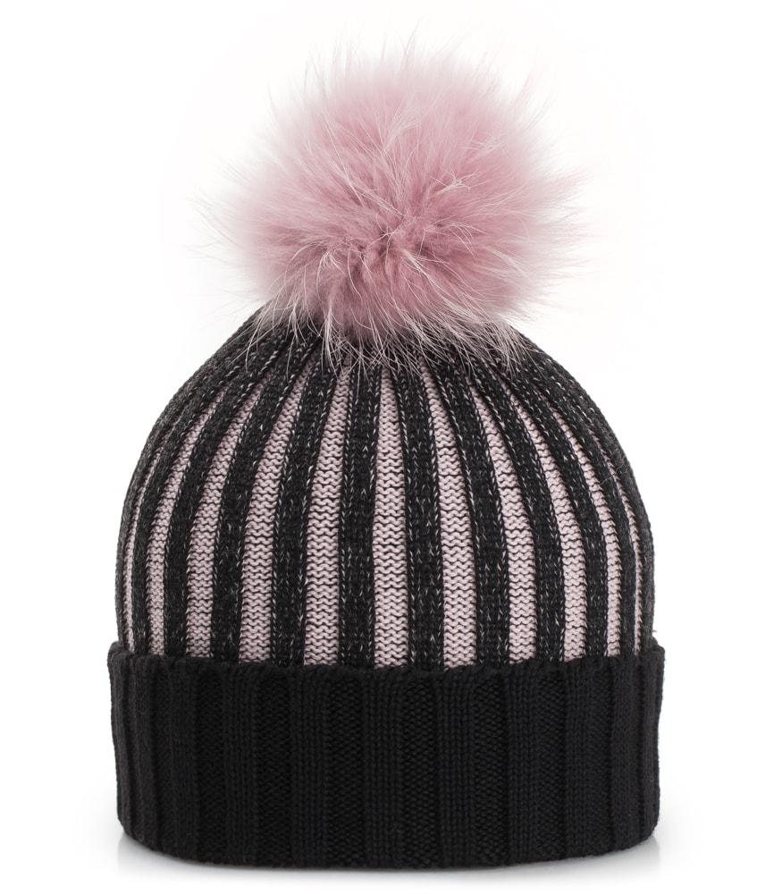 Mia Merino Strickmütze mit Echtfell in schwarz-rosa