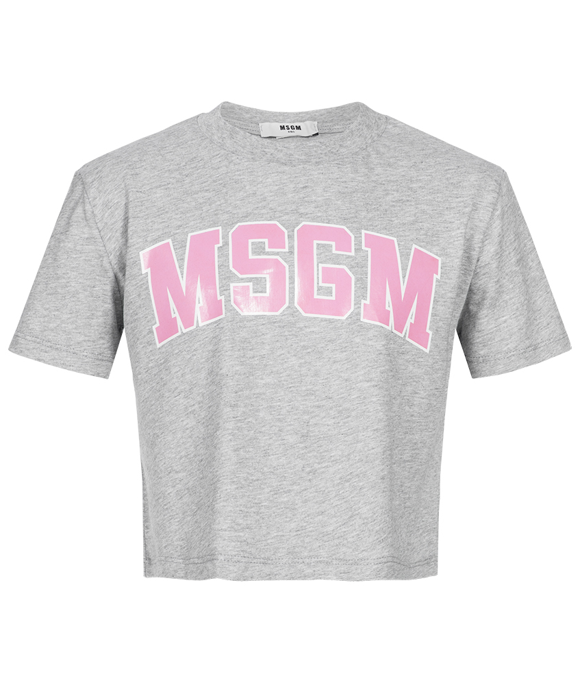 MSGM Cropped Top mit Print in grau-meliert