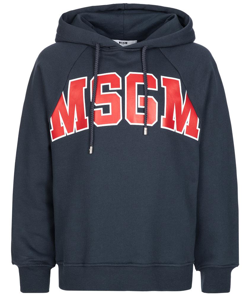 MSGM Kapuzenpullover mit Logo in dunkelblau
