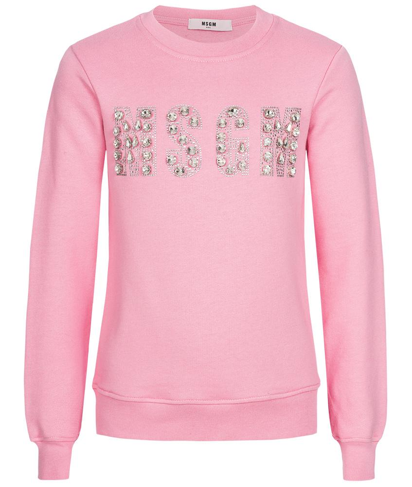 MSGM Glitzer Logo Sweatshirt rosa