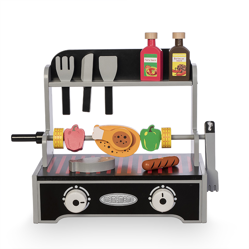 MaMaMeMo Holz Barbecue Grill, 20 teilig - schwarz