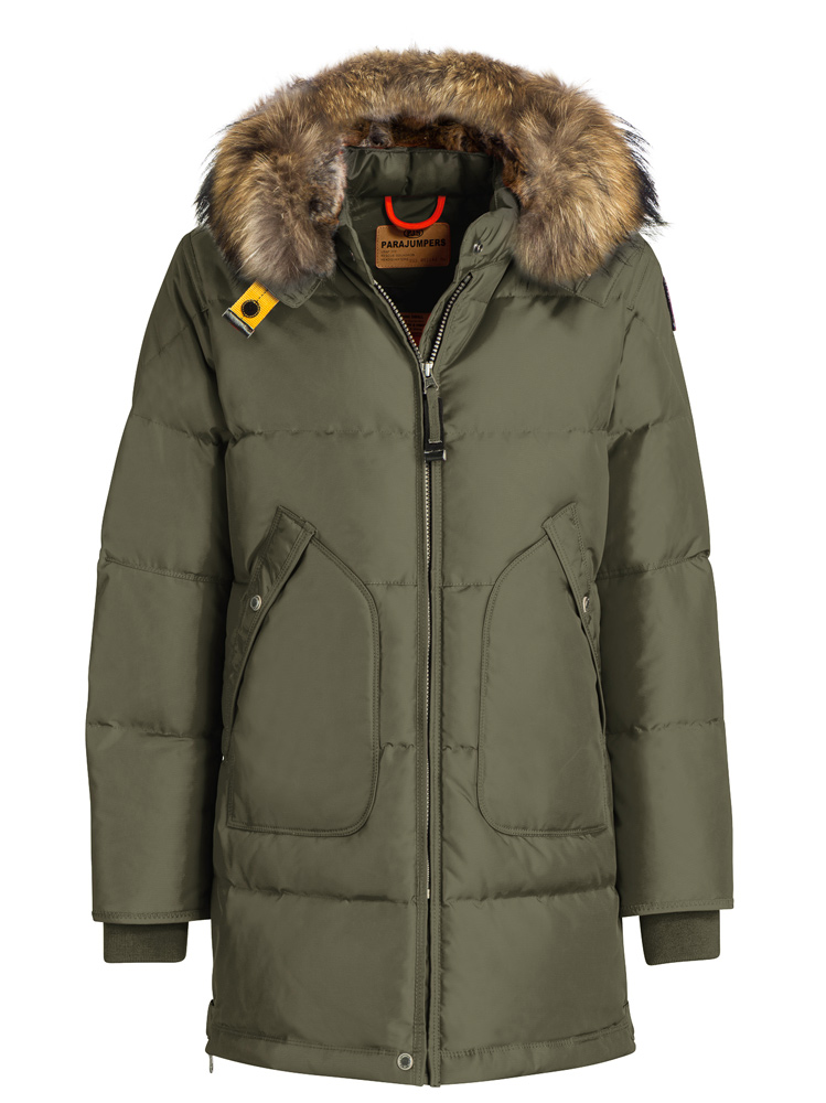 Parajumpers Daunenparka Long Bear mit Echtfell in Oliv
