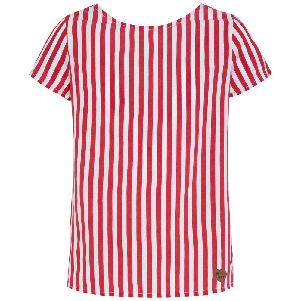 Pepe Shirt Campbell mit Rücken-Ausschnitt - rot/weiß
